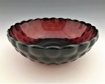 Anchor Hocking Bubble Ruby Bowl - Round Vegetable Bowl - Ruby Red Depression Glass Bowl