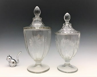 Duncan and Miller Covered Candy Jars - Set of Two - Flower Cutting - Depression Era Elegant Glass