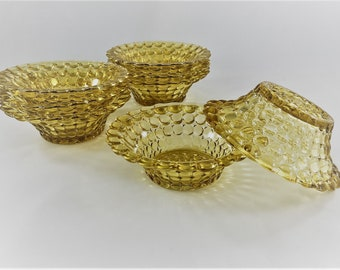 Set of  Vintage Amber Bowls - Sauce or Berry Bowl - Adams and Company Sensation Pattern (No. 130) - Buggy Bowl - Thousand Eye