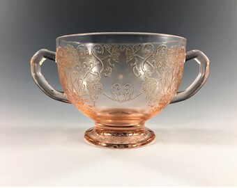 Pink Depression Glass - Hazel Atlas Florentine 1 - Open Sugar Bowl