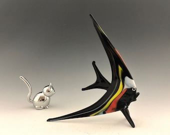 Glass Angelfish - Black and Yellow Glass Fish - Handmade Glass Art