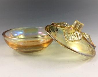 Scarce Arthur Lorch Imperial Glass (ALIG) Iridescent Four Leaf Puff Box in Sunburst Yellow - Circa 1982-83 - Contemporary Carnival Glass
