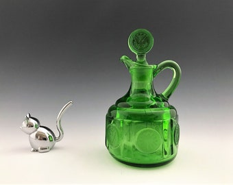 Fostoria Coin Emerald Green Cruet - Vintage Green Glass - Hard to Find