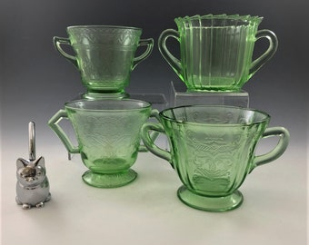 Set of 4 Uranium Glass Sugar Bowls - Florentine, Sierra, Madrid, and Patrician Patterns - Green Depression Glass - Glowing Glass