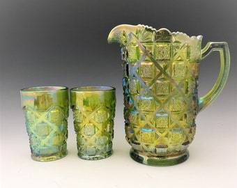 Westmoreland Old Quilt Water Set - Lime Green Carnival Glass - Pitcher and Five Tumblers