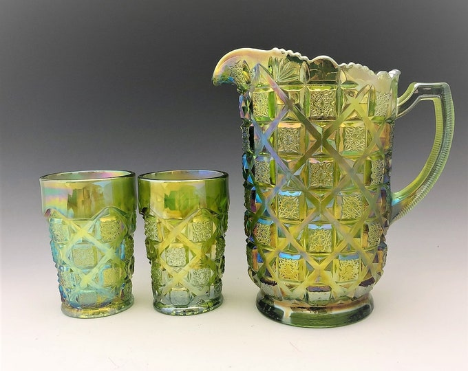 Featured listing image: Westmoreland Old Quilt Water Set - Lime Green Carnival Glass - Pitcher and Five Tumblers