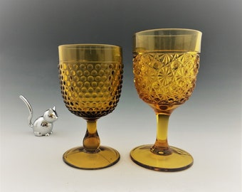 Pair of Amber EAPG Goblets - Elson Glass No. 88 Daisy and Button - Dew Drop - Early American Pattern Glass - Circa 1884
