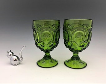 L.E. Smith Moon and Star Antique Green Water Goblets - Set of Two