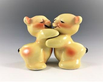 Vintage Van Tellingen Hugging Bears - Salt and Pepper Shakers - Mid Century Decor