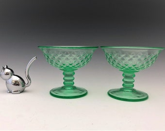 Imperial Diamond Quilted Pattern  - Uranium Glass Sherbets - Green Depression Glass - Glowing Glass