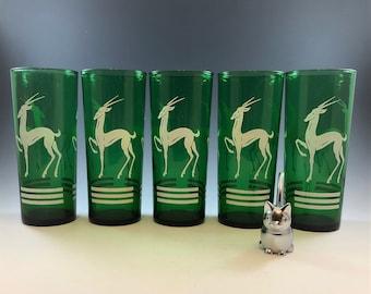 Set of 5 Anchor Hocking Gazelle Collins Glasses - Mid Century Emerald Green Glasses - White Deer Glasses - Art Deco Highball Glasses