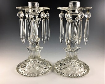 Set of 2 Vintage Elegant Glass Candlestick Holders - Hard to Find L.E. Smith Glass #18 - Late Depression Era Glass
