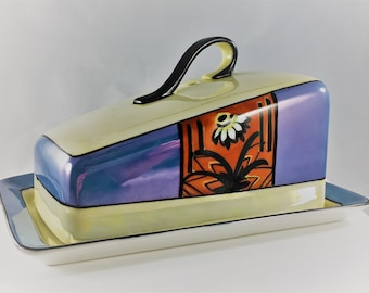 Vintage Noritake Covered Butter Dish - Covered Cheese Dish  - Hand Painted