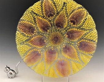 Vintage Sydenstriker Art Glass Bowl - Large Fused Glass Bowl - Fruit Bowl