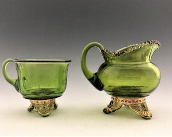 Beautiful Emerald Green EAPG Creamer and Cup - U.S. Glass No. 15057 Colorado Pattern - Early American Pattern Glass - Circa 1898