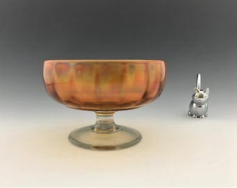 Lancaster Glass Carnival Bowl - #692 Optic Ray Pattern - Candy Bowl - Iridescent Bowl - Footed Candy Dish