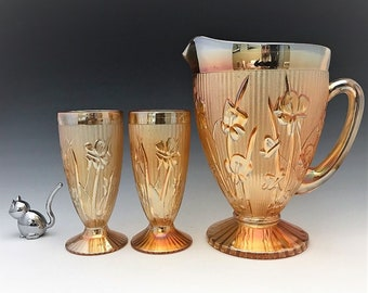 Jeannette Iris Iridescent Water Set - Pitcher and Four Footed Tumblers