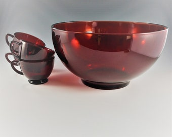 Vintage Anchor Hocking Punch Bowl Set - Royal Ruby Red - Mid Century Holiday Entertaining - Bowl and 12 Cups