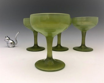 Set of Four Retro Green Champagne Coupes - Snazzy Vintage Green Glasses
