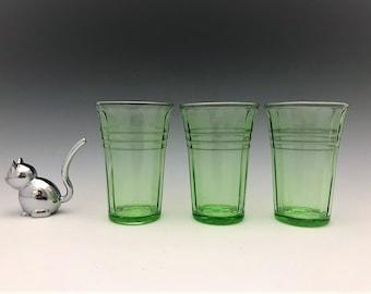Hazel Atlas Moderntone Green - Set of 3 Flat Tumblers