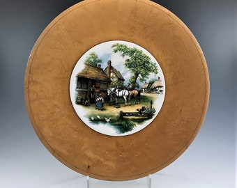 Vintage Wooden Cheese Board - Painted Porcelain Center - Wooden Serving Tray - 11 1/2 Inch Diameter