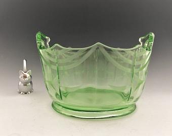 Liberty Works #98/107 Uranium Glass Ice Tub - Green Depression Glass - Hard to Find