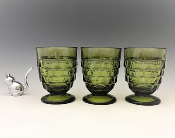 Indiana Glass Pitcher - Whitehall Pattern - Line #521 - Set of 3 Olive Green Glass Footed Tumblers