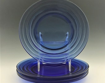 Set of 4 Hazel Atlas Moderntone Cobalt 9 Inch Dinner Plates - Hard to Find Blue Depression Glass Plates