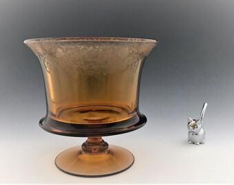 Vintage Fostoria Vesper Amber Compote (#5093) - Amber Glass Console or Centerpiece Bowl - Depression Era Glass