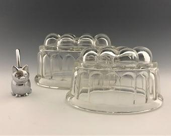 Set of 2 Vintage Glass Butter Molds - Jello Molds - Aspic Molds