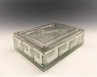 Vintage Verlys Glass Cigarette Box - 1930's Frenh Deco Glass Box - Horse and Star Motif - Greek Key Decoration
