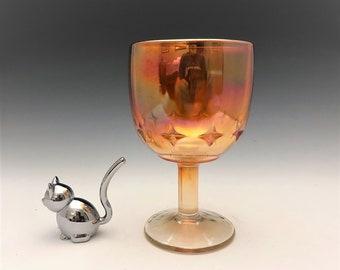 Carnival Glass Star Goblet - Vintage Iridescent Goblet