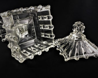 Broken Column Compote - L.E. Smith Glass - Square Candy Dish With Lid - EAPG History