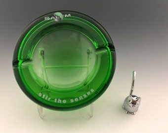 Vintage Salem Ashtray - Green Glass Advertising Ashtray - Stir the Senses - Mid Century Ashtray - MCM Decor