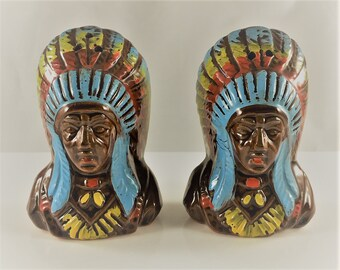 Vintage Indian Chief Ceramic Salt and Pepper Shakers - Native American Shakers