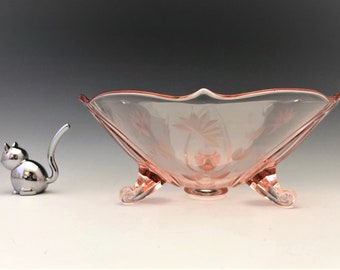 Standard Glass Manufacturing Company's #600 Beadles Cutting - Rose Colored Lancaster 1831/3 Three Toed Crimped Bowl - Pink Depression Era