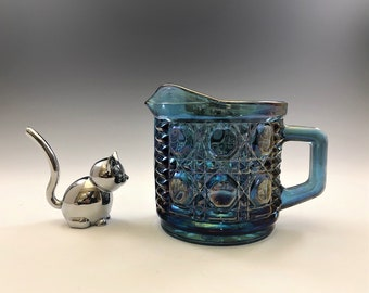 Federal Glass Windsor Pattern - Iridescent Blue Creamer - Carnival Glass Cream Pitcher