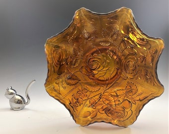 Imperial Glass Open Rose Pattern - Vintage Amber Carnival Glass Crimped Bowl - Lustre Rose