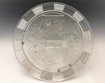 Federal Glass Cake Plate - Sharon Pattern - Cabbage Rose Pattern - Depression Glass Cake Plate
