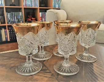 Set of 5 Early American Pattern Glass (EAPG) Goblets - U.S. Glass Company No. 4254 - Scalloped Daisy and Fan