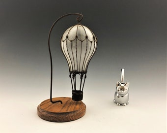 Unique Hot Air Balloon - Metal and Glass Ornament and Display Hanger - Handmade Art