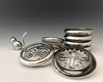 Collection of 9 Mid-Century Coasters - F.B. Rogers Sterling - Silver and Pressed Glass Coasters - Vintage Barware