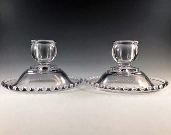 Set of Two Imperial Candlewick Single Light Candlesticks - 400/79B