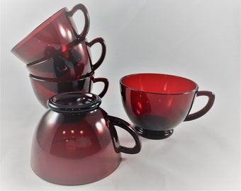 Set of 5 Vintage Ruby Red Punch or Snack Cups - Anchor Hocking Royal Ruby