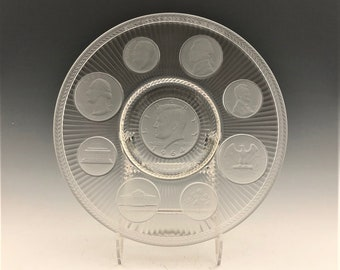Imperial Glass Kennedy Coin Plate - Crystal Coins 9 Inch Collector's Plate - 1964 Edition