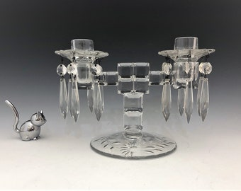 Paden City No. 2000 Mystic Two Light Candlestick - Elegant Glass Candlestick Holder