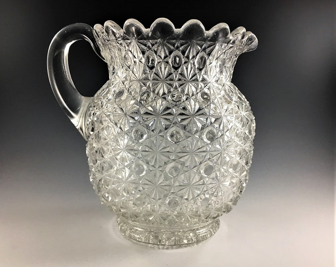 Featured listing image: Antique Bryce Brothers EAPG Pitcher - Fashion Pattern - Daisy and Button - Bulbous Style Milk Pitcher - Early American Pattern Glass - 1880s