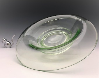 Green Depression Glass Rolled-Edge Console Bowl - Uranium Glass Centerpiece Bowl