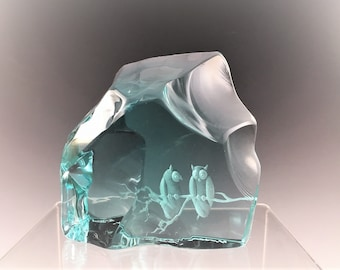 Iceberg Glass - Two Owls Etched in Blue Glass - Kosta Boda- Vintage Art Glass Sculpture - Signed by Artist(s) - Owl Glass Paperweight