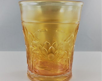 Vintage Carnival Glass Tumbler - Northwood Water Lily and Cattails - Marigold